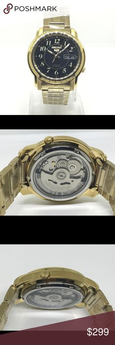 Seiko 5 automatic stainless steel men's watch This is brand new gold tone stainless steel.  Automatic gold tone mens watch skeleton back. 50 mtr water resistance Seiko Accessories Watches