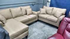 Roll Arm Studio Sectional  and Love Seat  with Reversible Chaise  Shown in Jitterbug Sand  Available in 9 Jitterbug Colors and  12 Microfiber colors   $799.00   Studio Sectional $499.00  Love Seat $349.00   L&A 2600