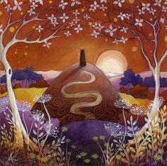 A fairytale art print. Solstice Moon by Amanda Clark. Looks like The Tor to me :-)
