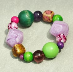 Chunky wood bracelet boulders in purple lilac pink by LeafFeather