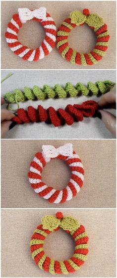 Crochet beautiful Christmas wreaths - Decoration For Home Crochet Christmas Wreath, Crochet Wreath, Crochet Christmas Decorations, Crochet Diy, Crochet Ornaments, Christmas Crochet Patterns, Holiday Crochet, Noel Christmas, Christmas Knitting