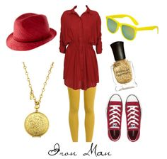 Different looks inspired by characters from various movies, books, and musicals :) Check out the. Nerd Fashion, Fandom Fashion, Fashion Outfits, Avengers Costumes, Avengers Outfits, Just My Size, Girly Things, Iron Man, Style Me