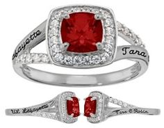 $88 - Class Ring (School: Anything ... Metal: Valadium ... Size: 7.5 ... Center Stone: January Garnet ... Accent Stones: Cubic Zirconia ... Personalization 1: UL Lafayette ... Personalization 2: Tara C Robin)