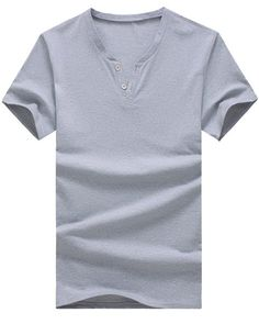 V-Neck Short Sleeve Buttons Embellished Solid Color Men's T-Shirt