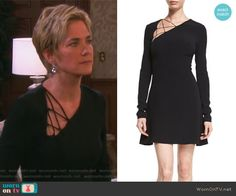 Eve's black asymmetrical lace-up dress on Days or our Lives. Outfit Details: https://wornontv.net/84988/ #DaysofourLives