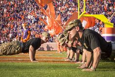 https://flic.kr/p/NSVvjU | 161105-A-ZU930-006 | Cadets with Clemson Universityâs Reserve Officersâ Training Corps do 22 push-ups to bring awareness to the fact that 22 Soldiers commit suicide every day, after the Clemson Tigers scored a touchdown during the Clemson Tigers Military Appreciation Game against Syracuse, Nov. 5, 2016. (Photo by Ken Scar)