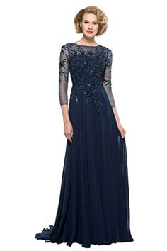 CLOCOLOR Womens Beads Chiffon 34 Sleeves Mother of The Bride Dress Size 6 Navy Blue ** Details can be found by clicking on the image.