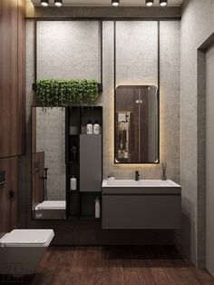 Get onboard with the wood slat wall trend with this luxurious home interior; featuring wood slat dividing walls, wall panel design and wood ceiling ideas. Bathroom Mirror Design, Bathroom Interior Design, Decor Interior Design, Bathroom Ideas, Bathroom Renovations, Aqua Bathroom, Bathroom Mirrors, Small Bathroom, Master Bathroom