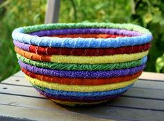 This colourful rope rag bowl is easy to make using scraps of fabric that you have lying around, old clothes, or pick up in the bargain bin a...
