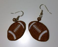 FSL Football Earrings, FSL, Free Standing Lace, Football Earrings, Thread Treasures
