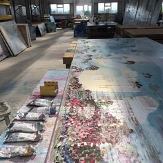 artist's studio - artist unknown - painting, paints, workspace, artspace