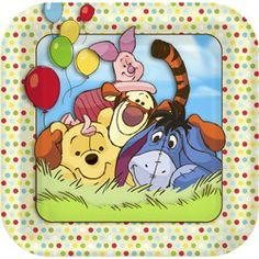 Pooh Party Supplies - Dessert Plates - 7in (8 Pack)