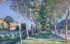 "Lane of Poplars at Moret-sur-Loing - Alfred Sisley, 1890, Jules-Chéret Fine Arts Museum, Nice France. The seized paintings included Monet's ""Cliffs Near Dieppe,"" Alfred Sisley's ""Lane of Poplars at Moret-sur-Loing"" and Jan Brueghel the Elder's Allegory of Water and Allegory of Earth. Both Monet and Sisley painting were previously stolen in 1998 from the museum and recovered a few days later in a nearby town. Sisley was stolen in 1978 and recovered several days later in a Marseille sewer."