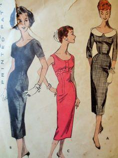 Vintage Butterick 8056 Sewing Pattern, Sheath Dress, 1950s Dress Pattern, Bust 35, 1950s Sewing Pattern, Scoop Neck, Vintage Sewing Supply