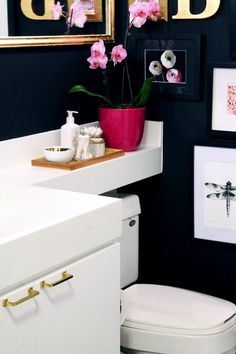 navy Bathroom Decor The Vault Files: Decor amp; Interiors: One Room Challenge - Bathroom Reveal Interior Design Companies, Office Interior Design, Office Interiors, Interior Decorating, Downstairs Bathroom, Small Bathroom, Navy Bathroom, Inspiration Wall, Bathroom Inspiration