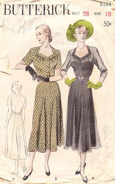 1950's 1950 Misses' Belted Dress with Open Diamond