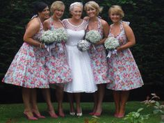1950s style wedding dress and bridesmaids dresses. Rockabilly.