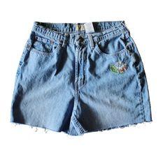 Vintage 90s Embroidered Flower Cut Off Denim Shorts // Women M // grunge era jeans by bluebutterflyvintage on Etsy