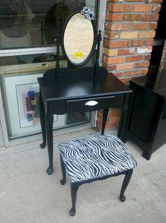 Zebra vanity chair | Stuff I Made | Pinterest | Vanities, Zebras ...