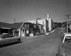 Looking at the cars and houses along Pirie Street, Wellington 1960