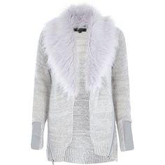 Grey faux fur knitted cardigan River Island