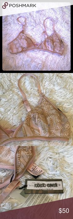 Roberto Cavalli Pink & Gold Bra Gorgeous soft cup bra, pink and gold. Size 42 Italian (size 6/Small US).  Best fits B/C cup. Made in Italy Roberto Cavalli Intimates & Sleepwear Bras