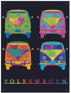 Metal Wall Sign – VW Camper Neon Quad Design & appeal: An official licensed Volkswagen product, created in-house by Red Hot Lemon. The VW Neon pop art is a fantastic off the chart piece of artwork! An