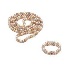 Set ZEEme Eleganță Subtilă argint cu perle de cultură alb caisă liliac (colier 120 cm, brățară dublă)