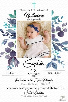 Digital Baptism Invite with Photo - Baptism Invitation Boy and Girl - First Holy Communion - Printable Invite - Elegant Baptism Invitation Elegant Invitations, Digital Invitations, Printable Invitations, Invitation Cards, Christening Invitations Girl, Framed Wallpaper, Naming Ceremony, First Holy Communion, Baby Names