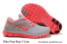 Wolf Gray Bright Crimson Womens Nike Free Run 3, www.punchfrees.com