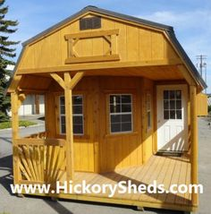 Old Hickory Sheds Deluxe Porch. We looked at a bunch of these and theyre wonderful!