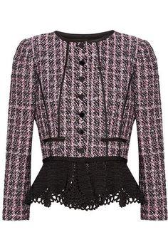 Oscar de la Renta | Crochet-trimmed sequin-embellished tweed peplum jacket | NET-A-PORTER.COM