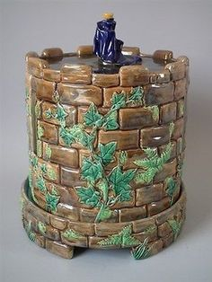 George Jones Majolica castle cheese dome & stand