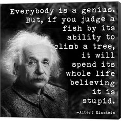 Albert Einstein Genius Quote Gallery Wrapped Canvas Wall Art On Deep Stretch Bars