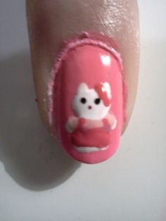 Hello Kitty Nail Art by Me attempt 1 (and Fail)