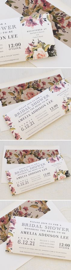 Watercolor Rose Bridal Shower Invites! Perfect for your garden party bridal shower. Each card is printed on ivory shimmery paper, paired with a speckled envelope and matching envelope liner.