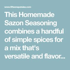 This Homemade Sazon Seasoning combines a handful of simple spices for a mix that's versatile and flavorful. I use it once a week for pulled pork, and it's also great with fish, chicken, beef, beans and rice, and more! No MSG, artificial colors, or nasty chemicals in it because it's homemade. Sazon Seasoning, Seasoning Mixes, Homemade Spice Blends, Homemade Spices, Crockpot Recipes, Cooking Recipes, Meal Recipes, Nutritarian Diet, Jamaican Cuisine