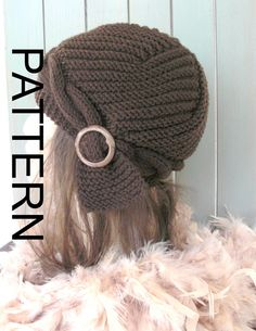 Hat Knitting PATTERN  Instant Download Knit hat pattern por Ebruk