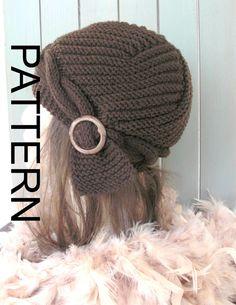 Hat Knitting PATTERN  Instant Download Knit hat pattern por Ebruk