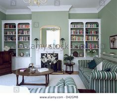 Image from http://c8.alamy.com/comp/D42GM8/fitted-white-bookcases-on-either-side-of-fireplace-in-gray-green-living-D42GM8.jpg.