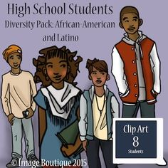 High school teenager students clip art with african american, and latino ethnicities. There are eight separate students, and the black and white versions are included. Please download a free preview to see all the items. These high school teenager african american and latino students were made to fit older kids, and also middle school teenager students. This high school teenager students clip art comes in a .png file so you can layer. These clip art are 6in x 13in.