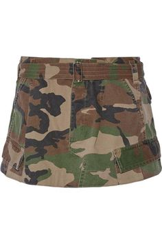 Marc Jacobs' camouflage skirt is inspired by '90s rave culture. Cut from durable cotton-twill, this mini design has an A-line silhouette with a gathered waist and adjustable belt. Mirror the runway styling by wearing yours with a sweater and thigh-high socks with sandals.