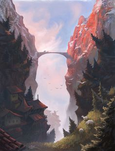 16 Ideas For Concept Art Environment Inspiration Fantasy Fantasy Art Landscapes, Fantasy Landscape, Landscape Art, Fantasy Concept Art, Fantasy Artwork, Fantasy Places, Fantasy World, Ahegao Manga, Sky Bridge
