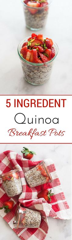 5 Ingredient Quinoa Breakfast Pots.  use on plan sweetener.  could sub other fruits.  use less nuts for an E http://www.dailyquinoa.com