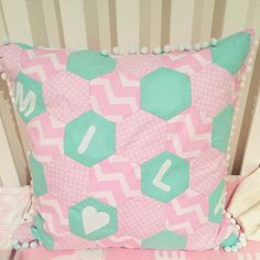 GEOMETRIC CUSHION WITH POM POM BORDER Hand-made this cushion for Mila's 1st Birthday