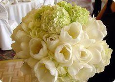 white Tulip bouquet green hydrangea