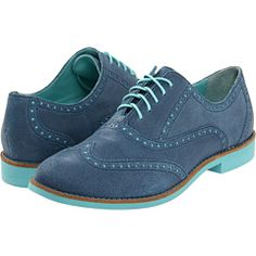 "Cole Haan Alisa Oxford ""Harbour Blue/Candy Floss"" BLUE SUEDE SHOES."