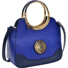 Dasein Hinged Handle Winged Satchel with Removable Shoulder Strap -... ($34) ❤ liked on Polyvore featuring bags, handbags, blue, faux-leather handbags, vegan purses, faux leather purses, blue satchel handbags and blue handbags
