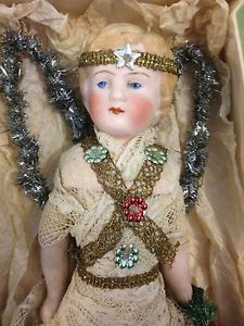 Old Victorian Antique Vintage Bisque Doll Dressed As Christmas Fairy Decoration