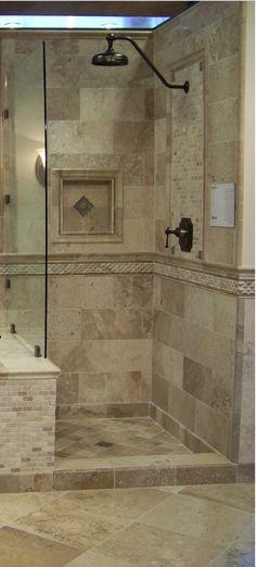 Stone Tile WalkIn Shower Design  Kenwood Kitchens in